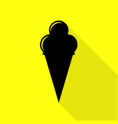 Ice cream sign black icon with flat style shadow vector