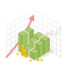 Isometric icon money growth pile dollar and gold vector