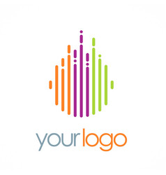 Line round color technology logo vector