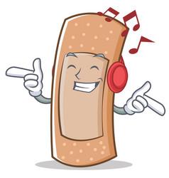 listening music band aid character cartoon vector image vector image
