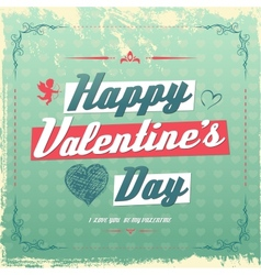 Retro vintage Valentines day greeting card design vector image