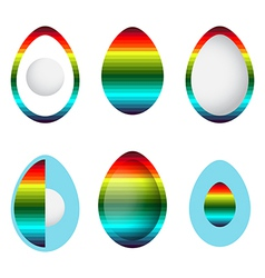 set of abstract rainbow eggs vector image vector image