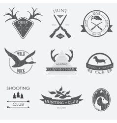 Set of vintage hunting labels and design elements vector image vector image