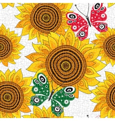 Spring seamless pattern with sunflowers vector