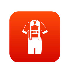 T-shirt and pants with suspenders icon digital red vector