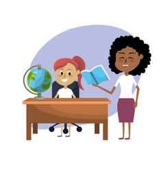 Teacher woman educated the student vector