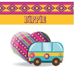 Van with flower hippie concept vector