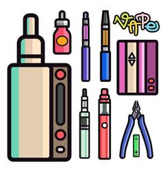 Vape device set cigarette vaporizer vapor vector