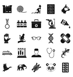 veterinary surgeon icons set simple style vector image