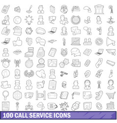 100 call service icons set outline style vector image