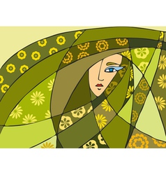 Abstract Face Green vector image