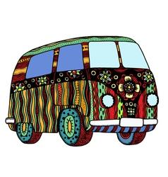 Hippie vintage car vector image
