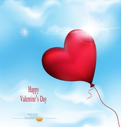 Balloon-hearts flying in the sky vector