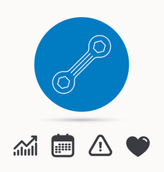 Spanner tool icon repairing service sign vector