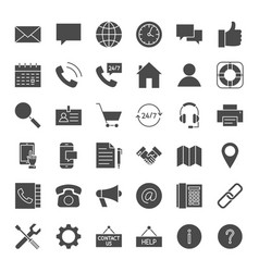 Contact solid web icons vector