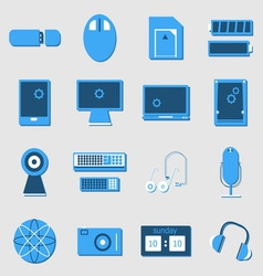 Electronic device color icons on light background vector