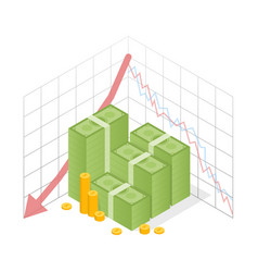 Isometric icon pile of cash red recession graph vector