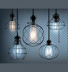 Loft style lights icon set vector