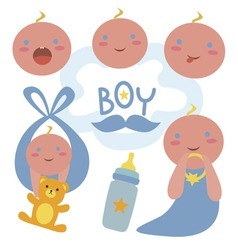 Newborn boy characters vector