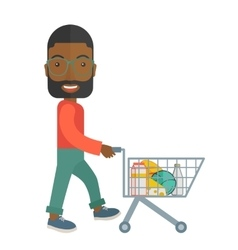 Black male shopper pushing a shopping cart vector