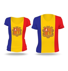 Flag shirt design of andorra vector