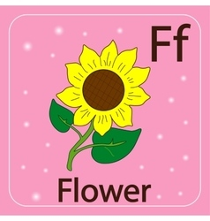 English letters f and flower vector