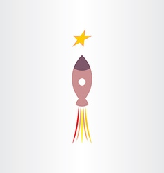 Rocket travel in universe star icon vector