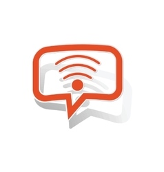Wi-fi message sticker orange vector
