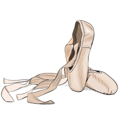 Hand-drawn style pointe shoes eps8 vector