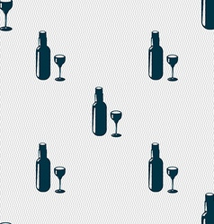 Bottle of wine and glass icon sign seamless vector