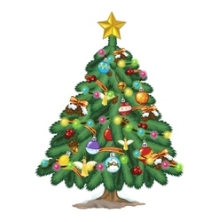 Christmas tree with toys and gold star on top vector