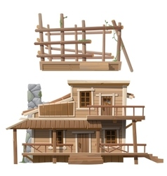 Two-storey wooden cottage with chimney vector