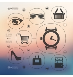 Fashion infographic with unfocused background vector