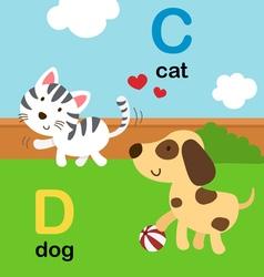 alphabet c d vector image