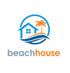 beach house travel logo vector image