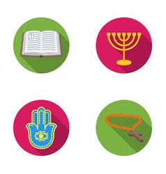 Bible menorah hamsa orthodox crossreligion set vector