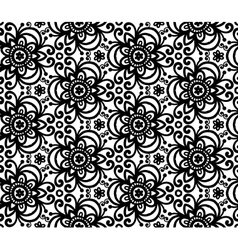 Black abstract flowers seamless pattern vector image vector image
