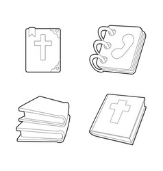 book icon set outline style vector image