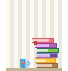 Books on desk Back to school Education objects vector image