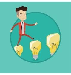 Businessman jumping on light bulbs vector