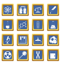 Chemical laboratory icons set blue vector