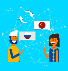 Chinese to russian online chat translation concept vector
