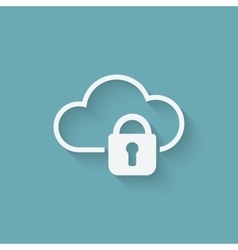 cloud computer storage with lock concept symbol vector image