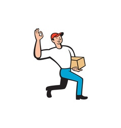 Delivery courier deliver package cartoon vector