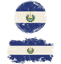 El salvador round and square grunge flags vector