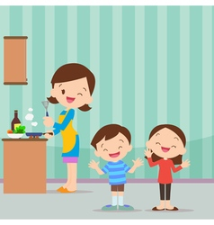 family kitchen be happy vector image