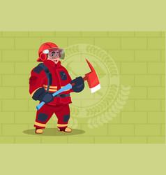 fireman holding hammer wearing uniform and helmet vector image