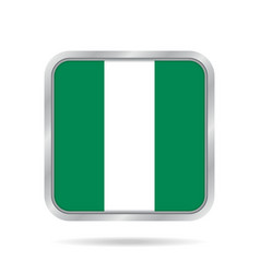 Flag of nigeria metallic gray square button vector