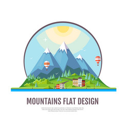 flat style design of countryside mountains vector image vector image