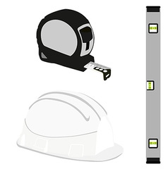 Grey level construction building helmet and tape vector image
